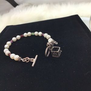 Charm Bracelet with Glass beads & Silver Chest